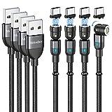 Cable de Carga Magnética [0.5m+1m+2m+3m], Cables USB Magnético Cargador Iman de Transferencia Cable de Carga Rápida 3A Cable Magnetic de Nailon Compatible con Tipo C para Huawei/Galaxy/Xiaomi (Negro)