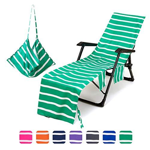 Mingfuxin, telo copri-sedia da spiaggia, in microfibra, con tasche laterali, telo da spiaggia in spugna, per sdraio, prendere il sole, vacanze Verde prato