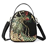 Goodhan Phoenix Embroidered Canvas Small Crossbody Bag Cell phone Pouch Coin Purse for Women Girls
