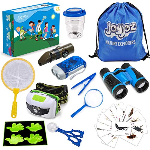 Joyjoz Outdoor Explorer Set für Kinder, Nature Explorer Kit, Käferbehältnis mit Spinne, Fernglas für Kinder, Schmetterlings Netzen, Lupe, Taschenlampe, Kompass, Thermometer und Pfeife