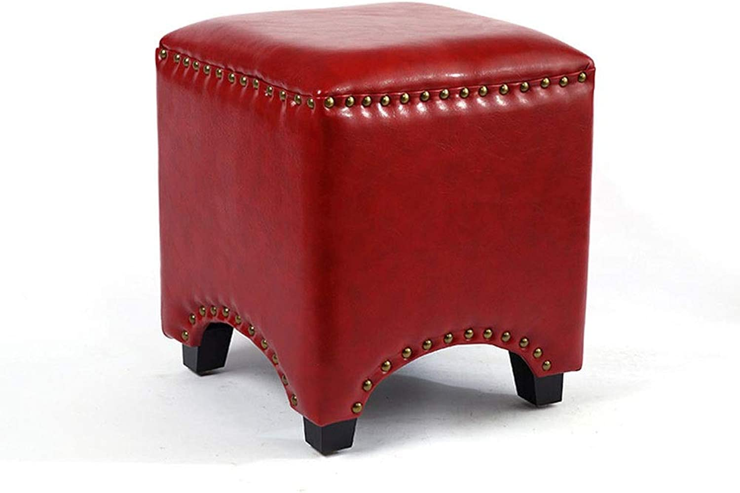 European Leather Stool Fashion Creative Fitting Room Sofa Bench wear shoes Stool Living Room Home Leather pier Solid Wood Square pier (color   Red)