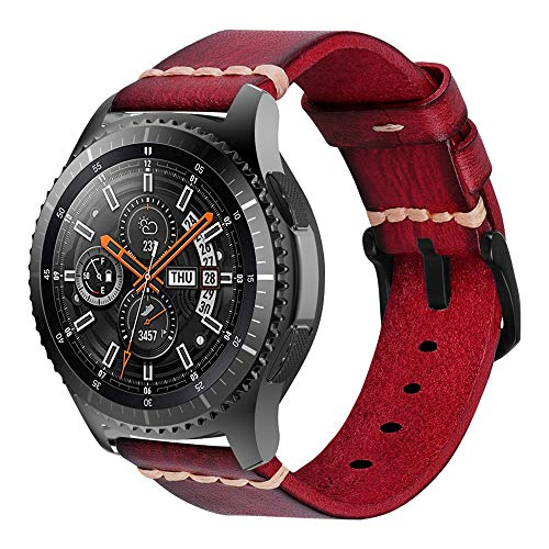 iBazal Galaxy Watch 46mm Armband 22mm Resin Leder Uhrenarmband Lederarmband Bands Ersatz für Samsung Galaxy Watch 3 45mm/Gear S3 Frontier/Classic,Huawei Watch 2 Classic/GT,Ticwatch Pro/E2/S2 - Rot