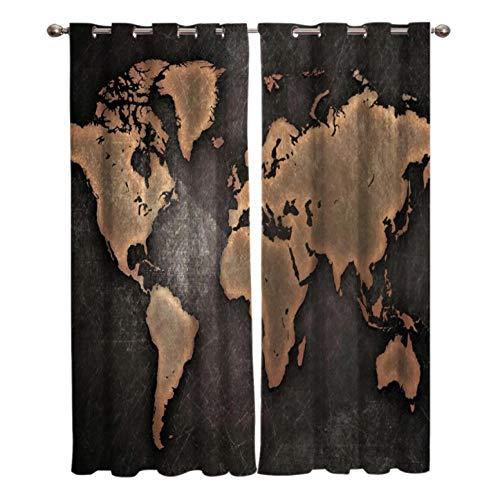 YJRXSS Cortinas Aislantes Mapa del Mundo Negro 2 X W 75 X L 166 Cm para Dormitorio Salón Habitación Comedor con Aislamiento Térmico para Decoración De Ventana 2 Paneles