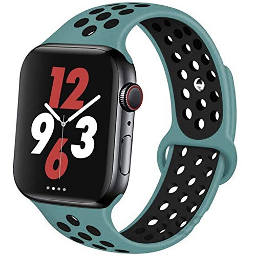 CGGA Correa For IWATCH Band 44mm 42mm 38mm 40mm IWATCH Banda Pulsera De Silicona Sport Series Accesorios For De IWatch 6 5 4 3 SE (Band Color : Celestial Teal 28, Band Width : 38mm 40mm L)