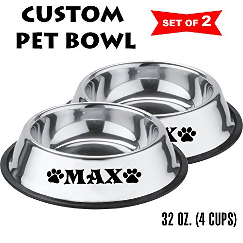 Jeyfel Decals: Personalized Stainless Steel Pet Bowl Set. Dog, Cat. 32 OZ. (4 Cups) (Black)