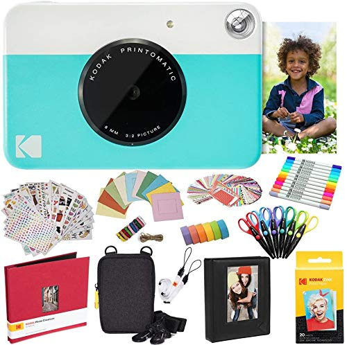 KODAK Printomatic Instant Camera (Blue) All in Bundle + Zink Paper (20 Sheets) + Case + Photo Album + 7 Sticker Sets + Markers - Scissors and More