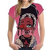 Personalidad Chica Camisa De Fondo De Moda De Manga Corta Hip-Hop Casual Cuello Redondo Estampado Verano Ropa De Mujer M