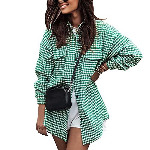 Rasatimu Camisa de manga larga para mujer, estilo informal, a cuadros, con botones, con bolsillos, mediados y...