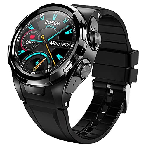 Lsooyys Reloj inteligente con auriculares Bluetooth, rastreador de fitness con oxígeno en sangre, monitor de ritmo cardíaco y sueño, podómetro, cronómetro para hombres
