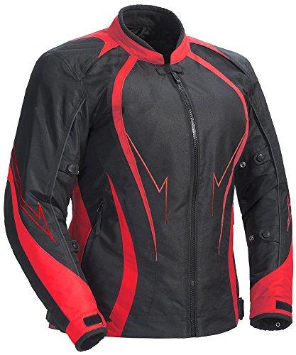 Juicy Trendz Damen Motorradjacke Frauen Wasserdicht Cordura Textil Motorrad Jacke, Rot, L