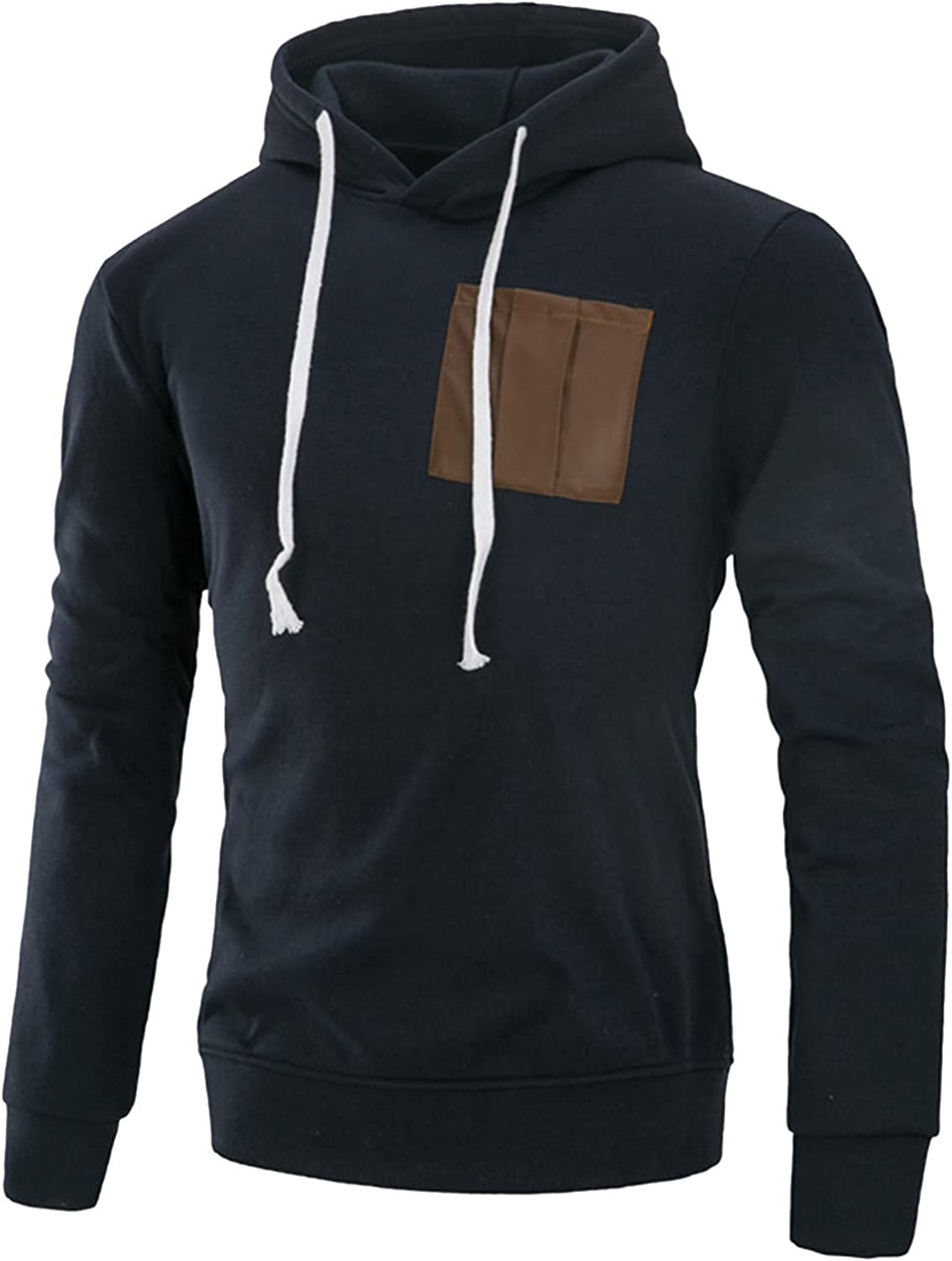 Hoodies for Men Pullover Vintage Aesthetic Hooded Sweatshirt Solid Color Long Sleeve Sweater with Pocket