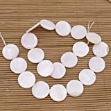 20mm Round Coin Shell Natural White Mother of Pearl Loose Beads 15.5' Strand