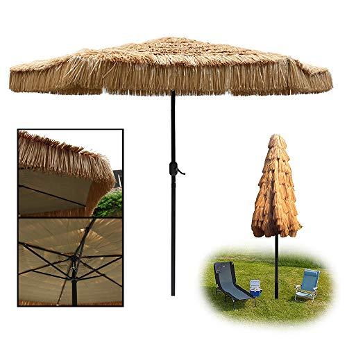 Aly Ombrellone Parasole, Ombrellone da Spiaggia in Paglia Tropicale Hawaii Ombrellone in Paglia Sintetica Grande da Esterno Ø 270cm