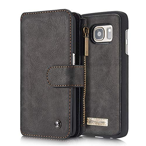 Aralinda 14 scomparti per carte di credito multifunzionali 2 in 1 design staccabile sottile custodia posteriore in pelle PU Custodia a portafoglio compatibile con Samsung Galaxy S7 (Colore: Nero)