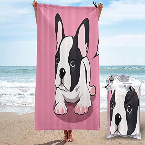 MOBEITI Toalla de baño de Microfibra Ultra Absorbente,Lindo Bulldog francés,de Gran tamaño de Secado rápido para Surf en la Playa,natación,SPA,Yoga