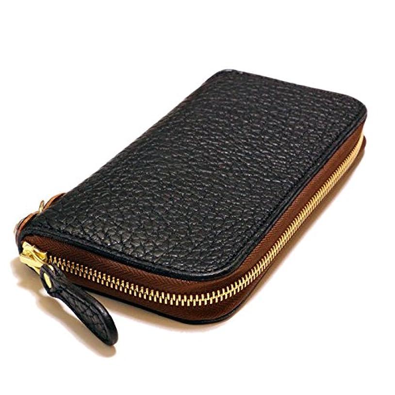 分岐する好ましいシリングKC,s(ケイシイズ) アメリカバイソン(バッファロー革) ラウンドファスナー革財布 ブラック 黒 メンズ