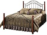 Hillsdale Martino Queen Metal Bed with Wood Posts, Smoke Silver