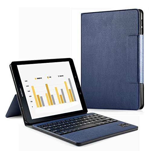 Samsung Galaxy Tab S3 9.7 Keyboard Case, HowiseAcc Case Cover for Galaxy Tab S3 9.7 SM-T820 / T825 Tablet with Detachable Wireless Bluetooth Keyboard - Blue
