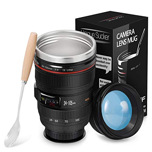 Splend Kaffeebecher, Kamera-objektiv-Kaffeetassen mit Deckel und Kaffeelöffel, Reisebecher Objektiv Tasse Edelstahl Becher Mit Magischem Sauger, Kameratasse für Fotografen Videographen