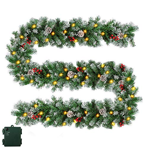 Christmas Garland with Timer - 50 LED Lights Xmas Garlands - Lighted Pine Cone Berry Christmas Garlands with Battery Powered String Light for Outdoor Indoor, Party, Home Decoration, 9 Ft by 10 Inch