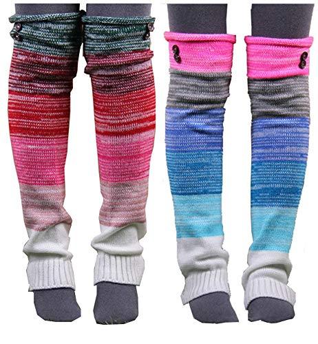 VIGVOG Women's Boho Knitted Warm Long Leg Warmers(Rainbow&Green)