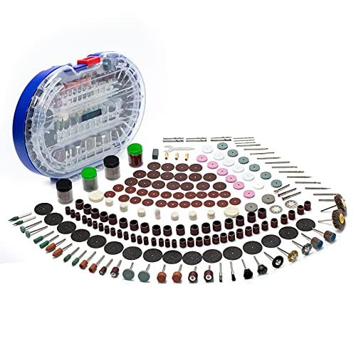 V VONTOX Accesorios de Herramientas Rotativas, Kit de 375pcs Juego de Accesorios para Herramientas de Molienda, Lijado, Pulido,Corte y Cepillo