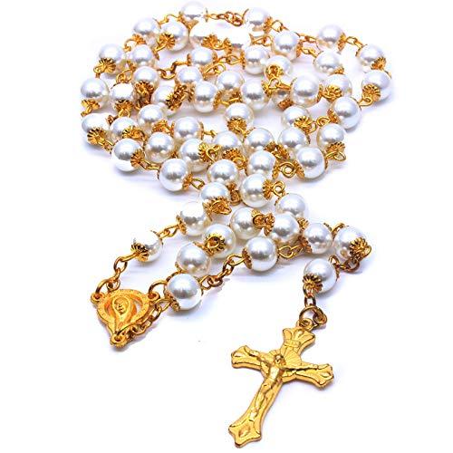 カトリックゴールドロザリオネックレス、マットストーンビーズ8mmパールラウンドビーズ、奇跡のメダル&クロス,白