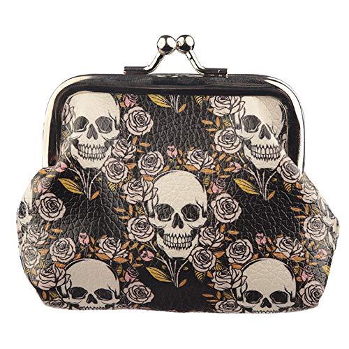 Objektkult Geldbeutel Skulls and Roses, kleines Portemonnaie mit coolem Totenköpfe-und-Rosen-Motiv, Klemmverschluss aus Metall, Geldbörse aus bedrucktem Kunststoff, Maße: 8 x 10 x 2 cm