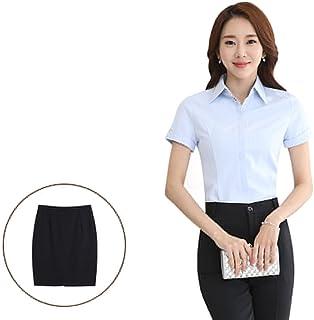 [FERE8890] レディース サマースーツ シャツ タイトスカート パンツ 半袖 ボタン付き 通気性が良い スリット パンチら防止 ビジネス オフィス パーティー 3着