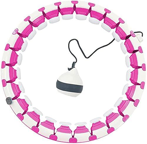 Ainstsk Hula Hoops con Peso para Adultos Pérdida de Peso Peso Inteligente Hula Hoop Tamaño Ajustable Círculo de Fitness 2 en 1 Fitness Pérdida de Peso y Masaje-Rosa