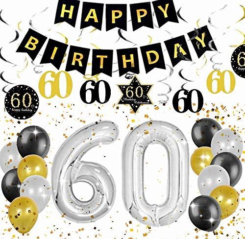 JeVenis Ensemble de 18 décorations de fête d'anniversaire 60e Cheers à 60 Ans bannière 60e Anniversaire bannière 60 Fournitures de fête d'anniversaire