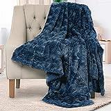 Everlasting Comfort Manta de piel sintética de lujo, suave, mullida, manta para sofá y cama, 50 x 65, azul marino