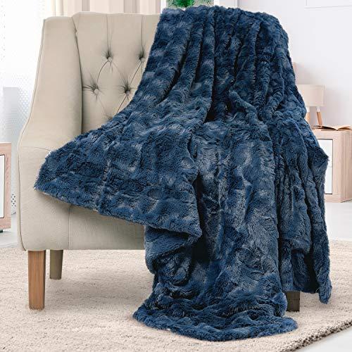 Everlasting Comfort Luxury Faux Fur Throw Blanket - Soft, Fluffy, Warm, Cozy, Plush (Navy Blue)