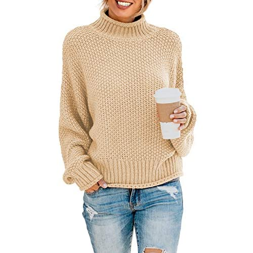 Lovezesent Womens Turtleneck Sweaters Batwing Long Sleeve Casual Loose Oversized Chunky Knit Pullover Jumper Tops