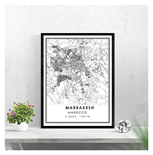 LTGBQNM Mapa de Marrakech Imprimir Cartel Lienzo |Mapa de la Ciudad de Marrakesh Poster Poster Lienzo |Mapa de la Calle Marruecos Mapa de la Calle 20x28 Pulgadas Sin Marco