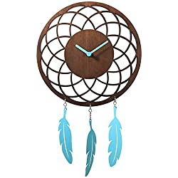 Unek Goods Nextime Dreamcatcher Wall Clock, Brown Wooden Face with Turquoise Blue Hands and Metal Feathers, Battery Operated, Round