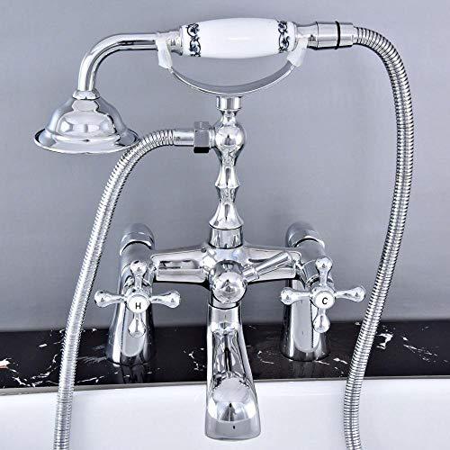 Hermanhao Polierter Chrom Messing Doppelkreuzgriff Deck montiert Cleopatra Füße Badewanne Wasserhahn Wasserhahn mit Dusche Mt768