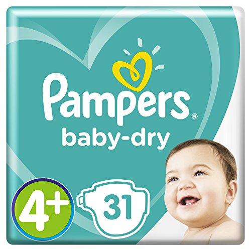 Pampers Baby-Dry Windeln Größe4+ (10–15kg), Luftkanäle für atmungsaktive Trockenheit die ganze Nacht, extra saugfähig, Sparpack, 1er Pack (1 x 31 Stück)