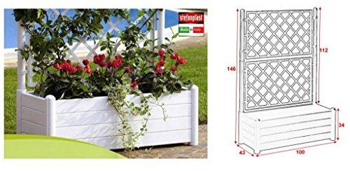 STEFANPLAST Bac a fleurs rectangulaire avec treillis - Finition en bois - 100x43xH35cm - 80L - Blanc