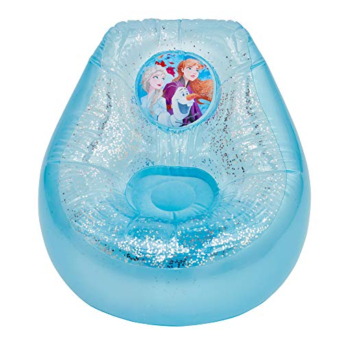 Disney Frozen 289FZO Silla Inflable con Purpurina para niños, Color Azul y Blanco