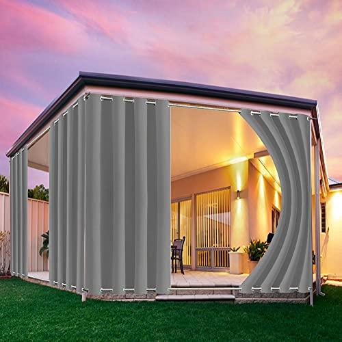 Vorhänge Wasserdicht für Terrasse, Aussenvorhang Outdoor Gardinen mit ösen, Patio Cabana Porch Gazebo Vorhang Sichtschutz Sonnenschutz UVschutz-grau_B213XH244cm-1_Stücke