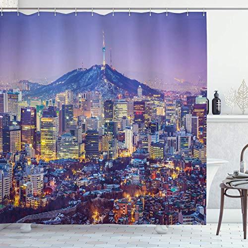 EdCott Moderne Duschvorhang Südkorea Seoul Skyline mit Gebäuden Wolkenkratzer Nacht Stadt Dekoration Raumdekoration zu Hause leicht zu Wasserdichten Duschvorhang Multicolor zu reinigen