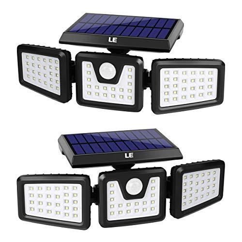 LE Solarlampen für Außen mit Bewegungsmelder, 3 verstellbarer Kopf 70 LED 1200LM Solarleuchte Aussen, Solar Aussenleuchte IP64 Wasserdicht, Wandleuchte 270 °Winkel 360 Drehbar für Garten, 2er