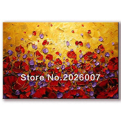 Orlco arte dipinta a mano paesaggio astratto palette Yellow View fiore rosso pittura a olio su tela famiglia parete soggiorno arte colorato 61 x 121,9 cm, Tela, Colorato, 24x48inch