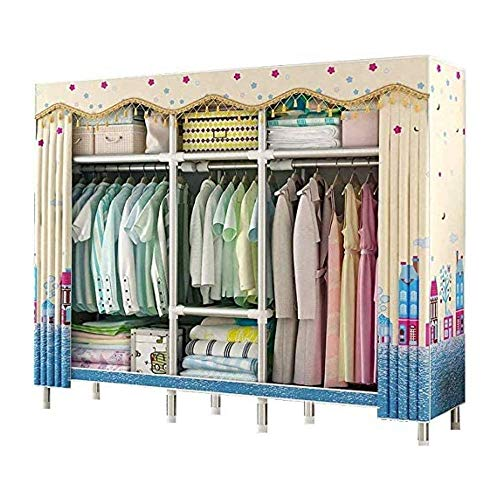 CXVBVNGHDF Wardrobe Portable Closet, Fabric Canvas Wardrobe Strong and Durable, 25 Mm Steel Pipe Wardrobes for Bedroom, Children's Room, Cloakroom,B