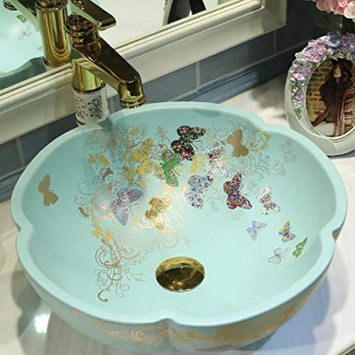 DWSS® Lavabo de cerámica Lavabo sobre encimera de cerámica para baño, Lavabo Redondo en Lavabo artístico, lavabos de baño con Forma de Mariposa únicamente