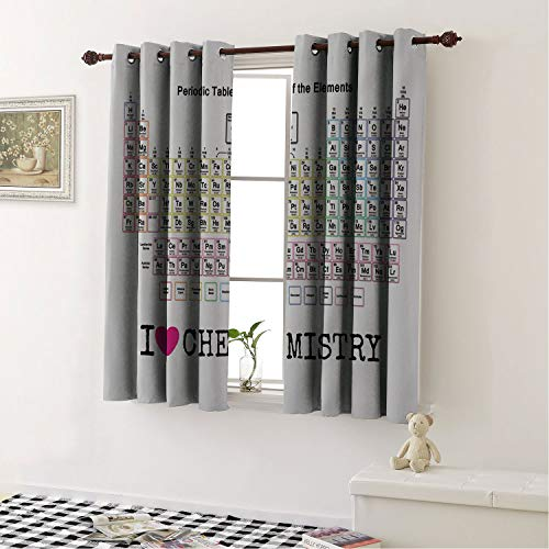 Mozenou Home Decoration Blackout Curtains Periodic Table of The Elements Chemistry Living Room, Curtain Panels for Patio Door 183 x 115 cm