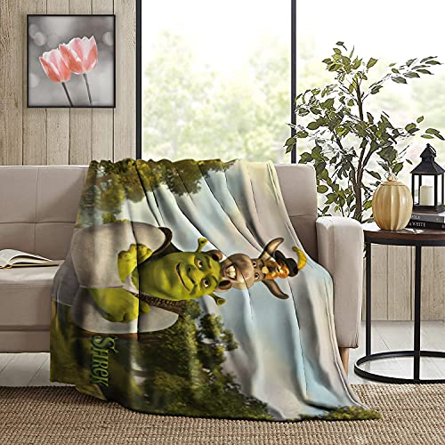 BEEPBOOP Sh-rek Blanket Throw Blanket Flannel Art Home Decor Soft Lightweight Breathable Warm for Couch Sofa Bed All Seasons 50' X40