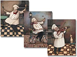 wallsthatspeak Jolly Chefs Vintage Posters - Kitchen Decor, Set of 3 Posters, 8