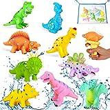COOJOMMY 10Pcs Juguetes Bañera Bebés, Juguetes de Baño para Bebés Niños con Pistola de Agua y Bolsa de Almacenamiento, Juguetes de Agua Dinosaurios para Niños